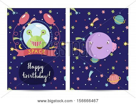 Happy birthday cartoon greeting card on space theme. Smiling alien in spacesuit with ballons, smiling violet planet surrounded colorful stars vector. Bright invitation on childrens costumed party