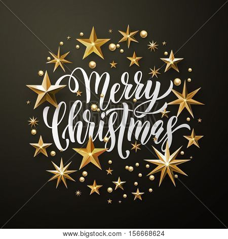 Merry Christmas greeting card of gold glitter stars. Vector stars of golden foil glittering gilding. Round Christmas ornament decorations. Vector calligraphy lettering