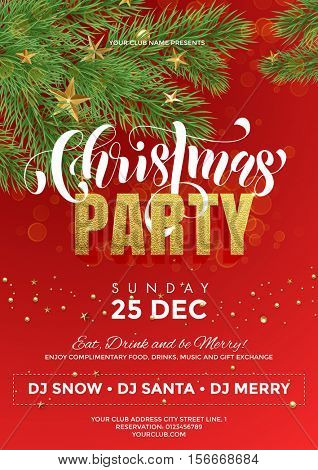 Holiday celebration party template, flyer, poster, banner. Red background with Christmas decorations, decorative golden elements, Christmas tree pine, fir branches design