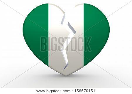 Broken White Heart Shape With Nigeria Flag