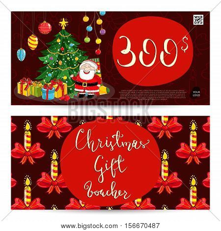 Christmas gift voucher template. Gift coupon with Xmas attributes and prepaid sum. Santa, gifts, decorated toys christmas tree, candles cartoon vector. Merry Christmas and Happy New Year greeting card