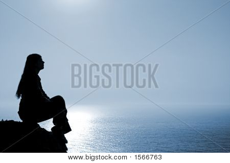 Meditating Woman Silhouette