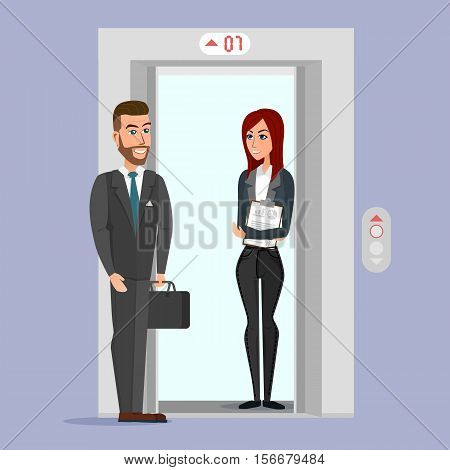Business people in office building elevator. Vector creative color illustrations flat design in flat modern style.