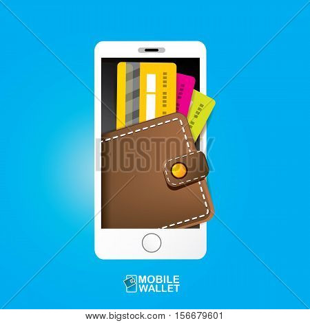 Vector Digital Mobile Wallet Concept Icon Smartphone Screen With On Internet