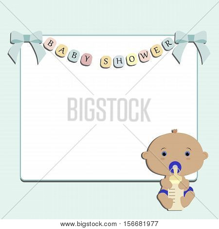 Cute baby blue background with a white square frame. Pattern for decoration or holiday decoration. Baby shower or arrival. Baby vector illustration