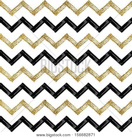Seamless pattern of black gold zigzag chevron, golden and black zig zag striped background, hand painted vector design for textile, wallpaper, web, wrapping, save the date, wedding, card, paper