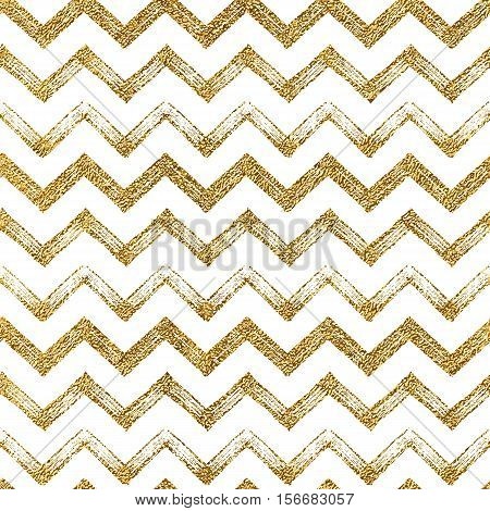 Seamless pattern of gold glitter zigzag chevron, seamless background of golden zig zag stripes, hand drawn vector illustration for textile, wallpaper, web, wrapping, save the date, wedding, card, paper