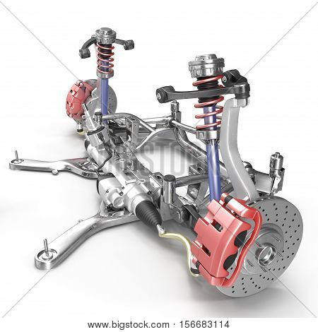 Sedan back suspension with new tire on white background. 3D illustration