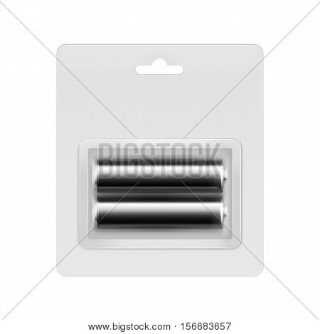 Vector Black Glossy Alkaline AA Batteries in Transparent Blister Packed for branding Close up Isolated on White Background