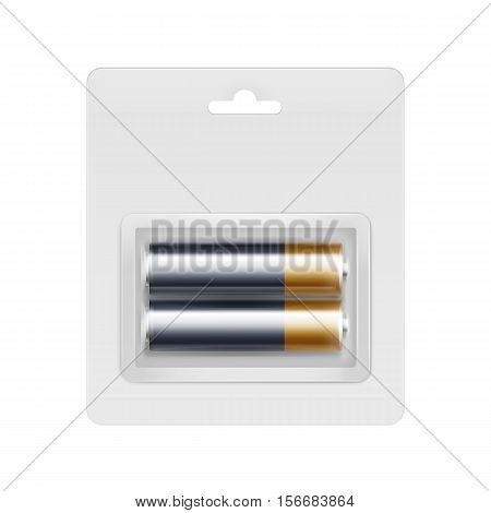 Vector Black Golden Glossy Alkaline AA Batteries in Transparent Blister Packed for branding Close up Isolated on White Background