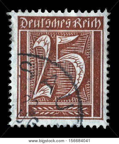 ZAGREB, CROATIA - JUNE 22: A postage stamp printed in Germany shows numeric value, circa 1921, on June 22, 2014, Zagreb, Croatia
