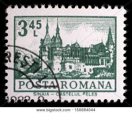 ZAGREB, CROATIA - JULY 19: A stamp printed in Romania shows Peles Castle, Sinaia, circa 1972, on July 19, 2012, Zagreb, Croatia