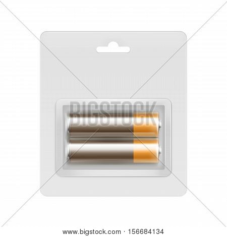 Vector Brown Golden Glossy Alkaline AA Batteries in Transparent Blister Packed for branding Close up Isolated on White Background