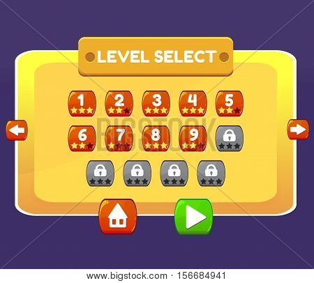 Level Select game menu level interface panels ui buttons. Vector illustration for your design