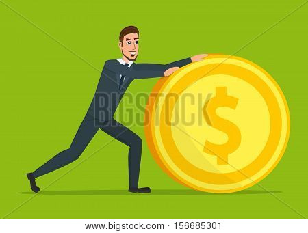 Time investmen concept, finance and money, investor and stock market, business man invest gold, old gold money, banking treasure, roll dollar invest illustration. Time for invest, man with gold coin.