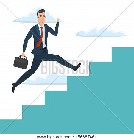 Businessman running up ladder of success vector illustration. Career and professional growth. Business cartoon concept. Vector illustration isolated on white background in flat style.