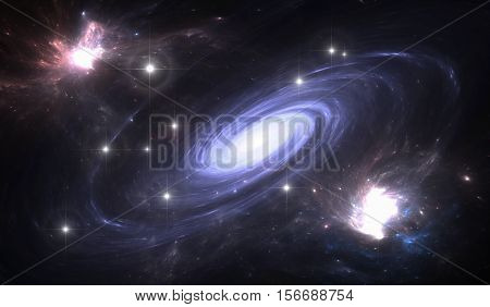 Space galaxy. Space background with blue galaxy and stars