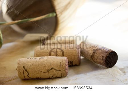 flask of aged wine with old corks