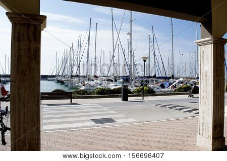 view of touristic port of Rome in Ostia lido city Rome