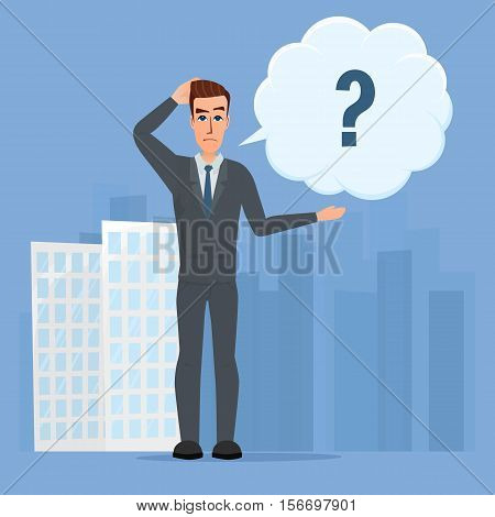 Vector illustration of cartoon with bar question mark. Business cartoon concept. Vector creative color illustrations flat design in flat modern style.
