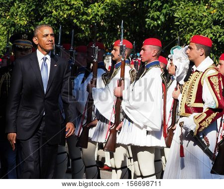 Us President Barack Obama Reviews The Presidential Guard In Athens.