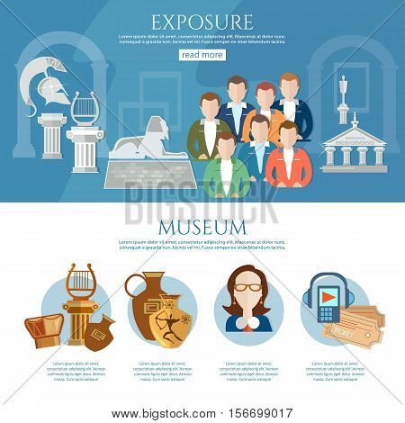 Museum infographics history and culture of civilization guide museum vector