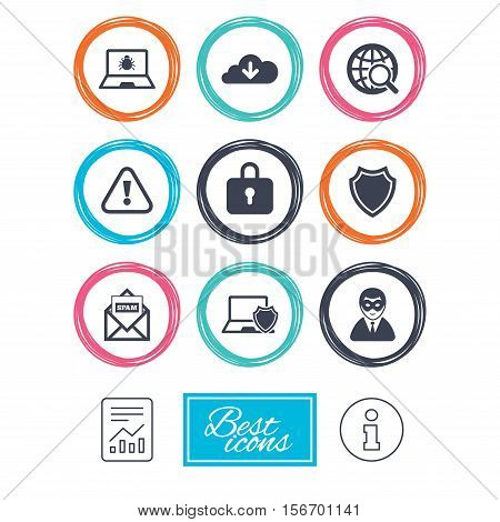 Internet privacy icons. Cyber crime signs. Virus, spam e-mail and anonymous user symbols. Report document, information icons. Vector