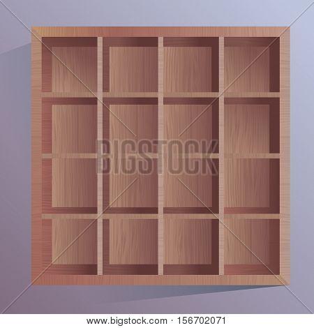 Wodden brown sqare box storage with cells.