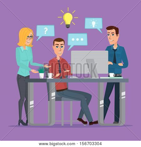 Teamwork office idea Business People Meeting Discussing Office Desk Businesspeople Working Flat Vector creative color illustrations flat design in flat modern style.