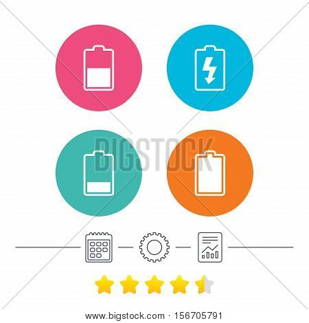 Battery charging icons. Electricity signs symbols. Charge levels: full, half and low. Calendar, cogwheel and report linear icons. Star vote ranking. Vector