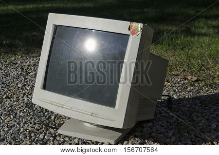 View of an old and heavy CTR monitor