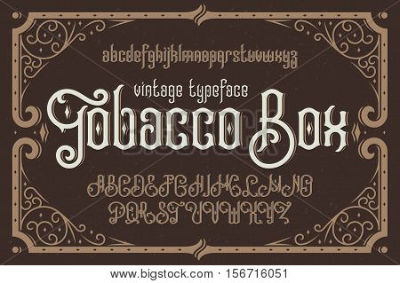 Vintage vector typeface named