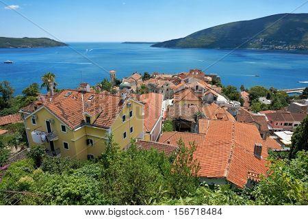 roof top Herceg Novi Old Town on Kotor Bay, Montenegro