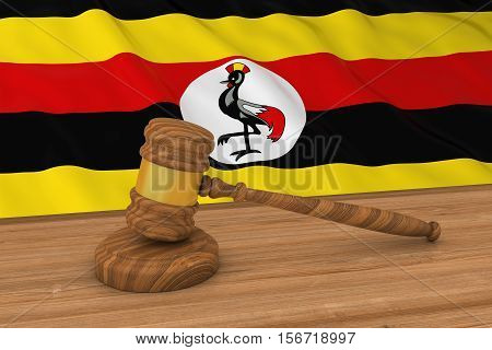 Ugandan Law Concept - Flag Of Uganda Behind Judge's Gavel 3D Illustration