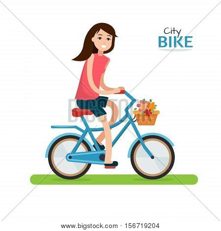 Woman on bike. Bicycle on white background. Flat style vector illustration.