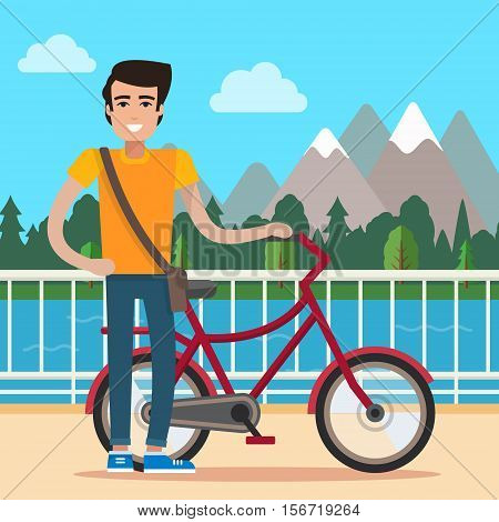 Man on bike. Bicycle on nature background. Flat style vector illustration.