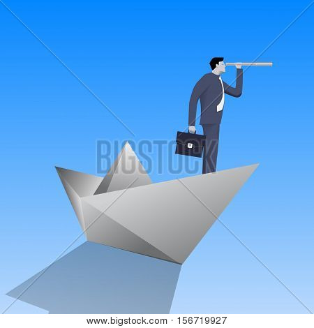 Swimming on paper boat business concept. Confident businessman in business suit with case and looking glass swimming on paper boat. Searching for opportunities looking for solution.