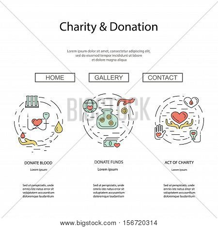 Charity and donation concept set for web banners, printed materials, infographics, websites. Creative icons in thin line flat design. Vector illustration eps10