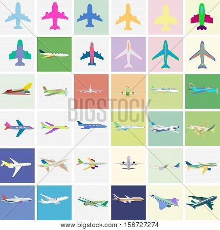Realistic flying airplane isolated on white. Vector illustration high detailed airplane. Airline Concept aircraft Travel Passenger planes and other commercial plane.