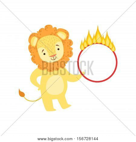 Circus Trained Lion Animal Artist Performing Stunt With The Burning Hula-Hoop For The Circus Show. Colorful Cartoon Illustration From The Collection Of Entertainment Performers And Circus Arena Vector Drawings