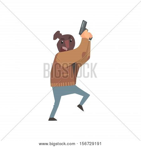 Criminal With The Sock On Head Holding Gun Committing A Crime Robbing The Bank. Cartoon Outlaw Character, From Bandit Vector Illustrations Collection.