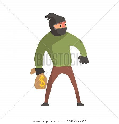 Criminal With The Sock On Head Holding Money Bag Committing A Crime Robbing The Bank. Cartoon Outlaw Character, From Bandit Vector Illustrations Collection.