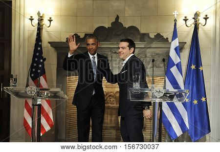 Athens Greece November 15 2016: U.S. President Barack Obama right and Greek Prime Minister Alexis Tsipras hold a news conference after their meeting at Maximos Mansion in Athens