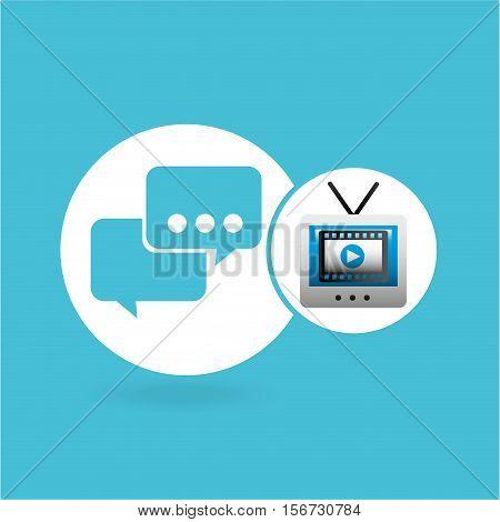 video player bubble speak tv icons vector illustration eps 10