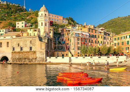 Church of St. Margaret in the old medieval Italian village Vernazza. Italy. Cinque Terre. Liguria.
