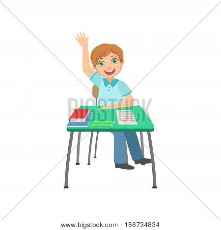 Schoolboy Sitting Behind The Desk In School Raising Hand To Answer Illustration, Part Of Scholars Studying Vector Collection . Happy Teenage Student In Uniform Having Good Time At Studies.