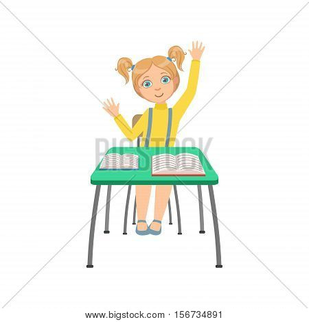 Schoolgirl Sitting Behind The Desk In School Class Raising Hand Wanting To Answer Illustration, Part Of Scholars Studying Vector Collection.. Happy Teenage Student In Uniform Having Good Time At Studies.