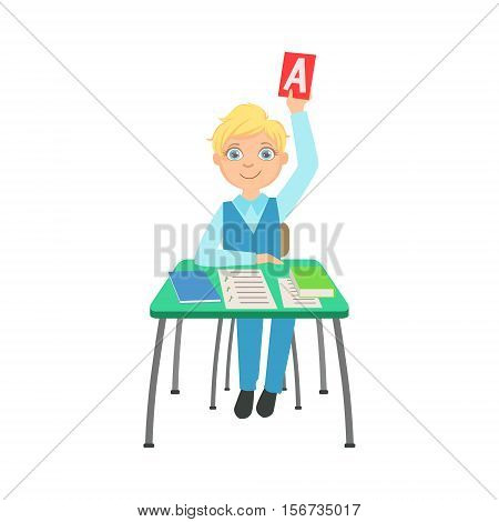 Schoolboy Sitting Behind The Desk In School Raising A Paper With Correct Answer Illustration, Part Of Scholars Studying Vector Collection. Happy Teenage Student In Uniform Having Good Time At Studies.