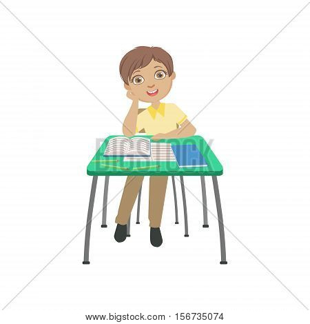 Schoolboy Sitting Behind The Desk In School In Dreamy Mood Resting His Head On His Hand Illustration, Part Of Scholars Studying Vector Collection. Happy Teenage Student In Uniform Having Good Time At Studies.