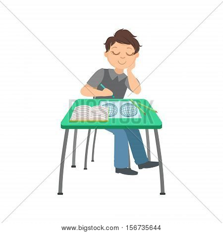 Schoolboy Sitting Behind The Desk In School Class Drawing In Geographic Map Illustration, Part Of Scholars Studying Vector Collection. Happy Teenage Student In Uniform Having Good Time At Studies.